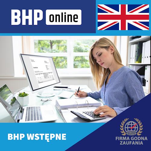 Szkolenie BHP wstępne ONLINE -dla pracowników biurowych w języku angielskim