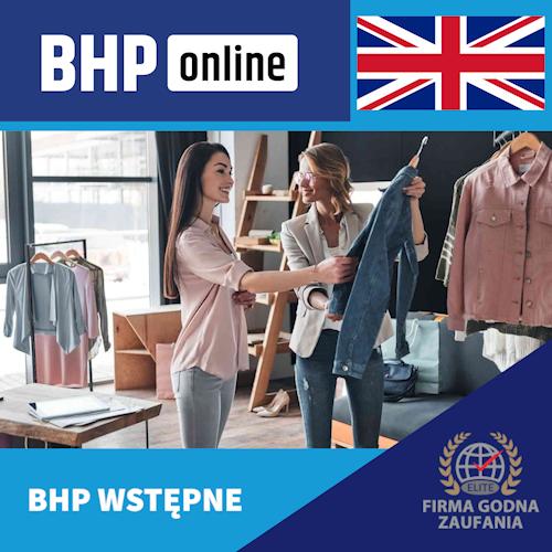 Szkolenie BHP wstępne ONLINE dla pracowników branży handlowej w języku angielskim